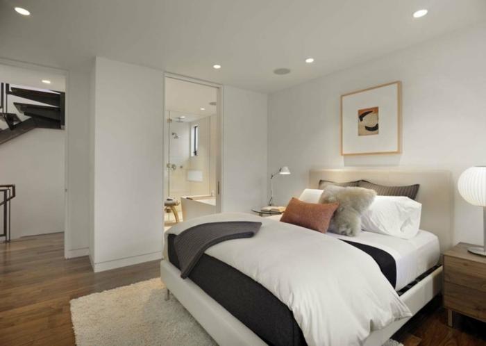 schlafzimmer weiß weißer teppich beleuchtung ideen