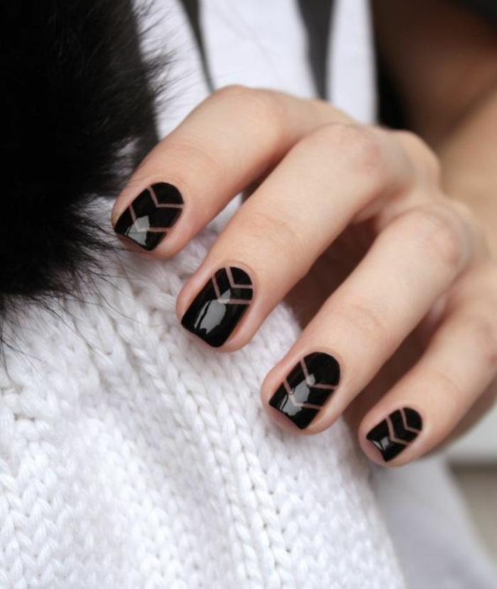 schlichte Nägel Nageldesign Bilder schwarze Fingernägel