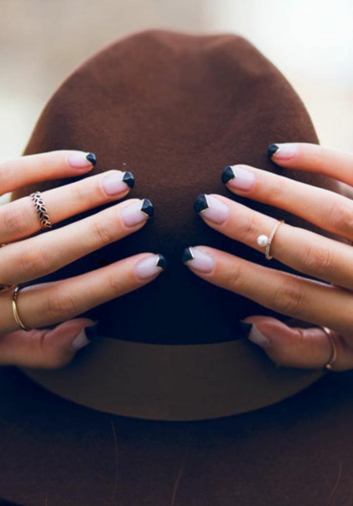 schlichte Nägel Nageldesign Bilder schwarze coole Fingernägel