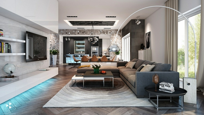 sofa grau cooler teppich wohnwand runder beistelltisch