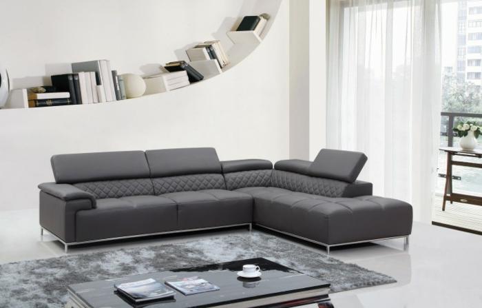 Sofa Grau Ecksofa Eleganter Teppich
