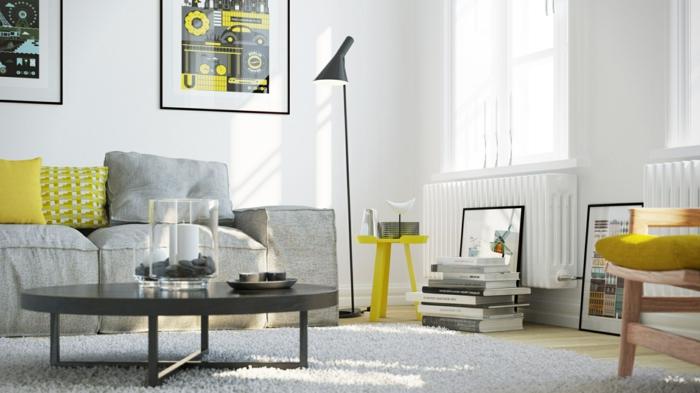 sofa grau hellgrau aufpeppen gelb runder couchtisch