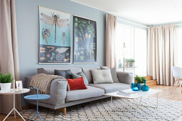 Sofa Grau Skandinavisches Wohnzimmer Wohnideen Wohnzimmerteppich