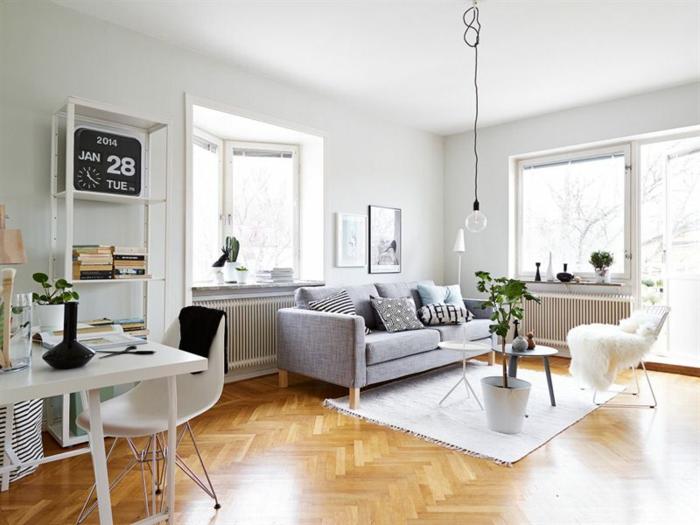 Sofa Grau Wohnbereiche Offener Wohnplan