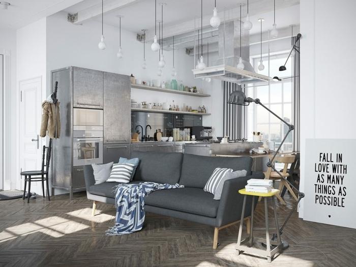Sofa Grau Wohnzimmer Einrichten Ideen Skandinavischer Stil