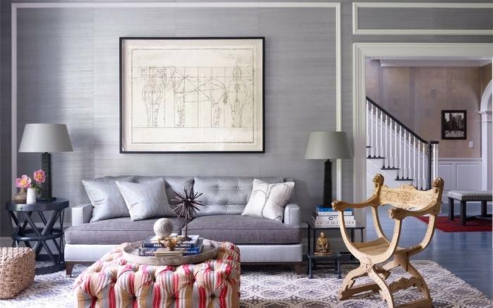 sofa grau wohnzimmereinrichtung ideen cooler stuhl