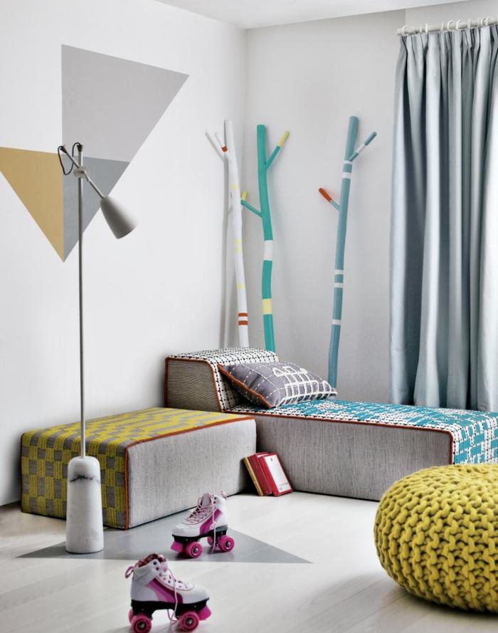 stoffmuster kombination kinderzimmer coole stehlampe schlichte gardinen