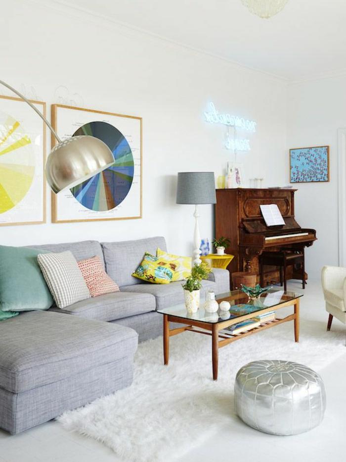 stoffmuster wohnideen wohnzimmer dekokissenbezüge weißer teppich klavier