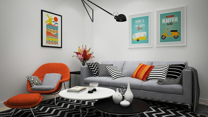 stoffmuster wohnzimmer einrichten dekoideen dekokissenbezüge unerschiedliche muster
