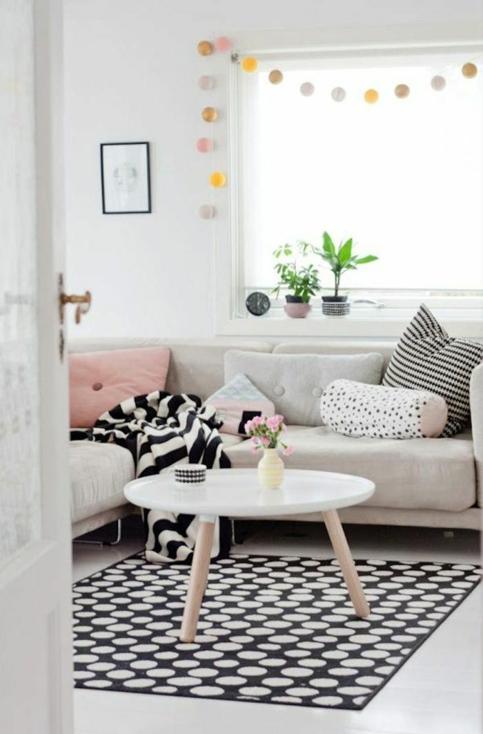 stoffmuster wohnzimmer schwarz weiße muster teppichmuster skandinavischer einrichtungsstil
