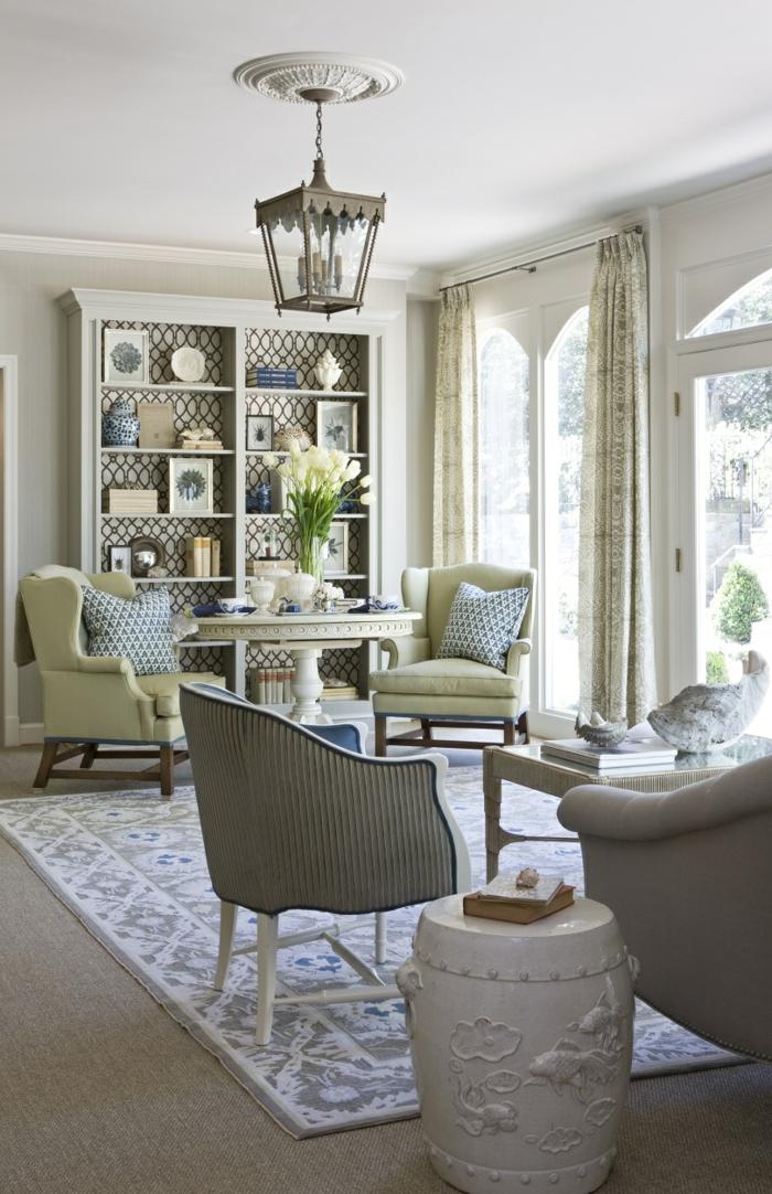 stoffmuster wohnzimmer teppich hellgrüne sessel