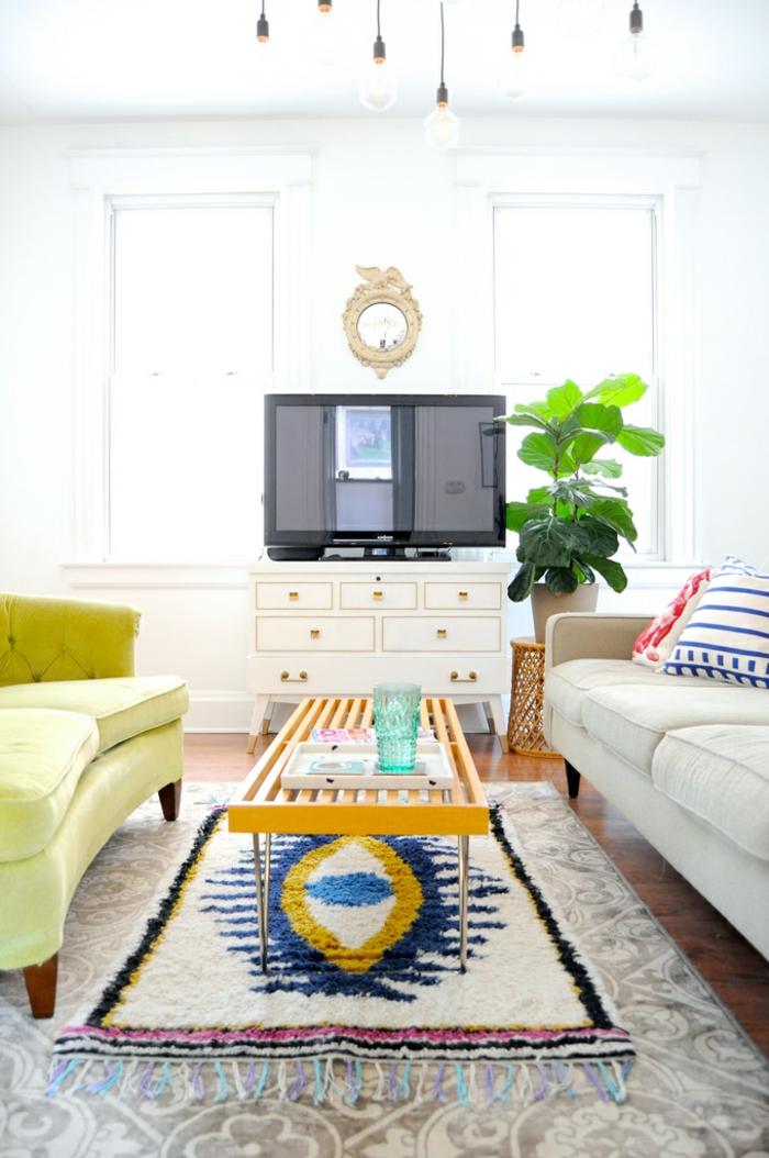 stoffmuster wohnzimmer teppiche dekokissen