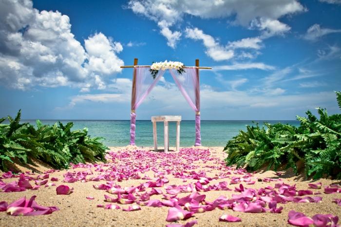 strandhochzeit kleid blaue stühle rosa