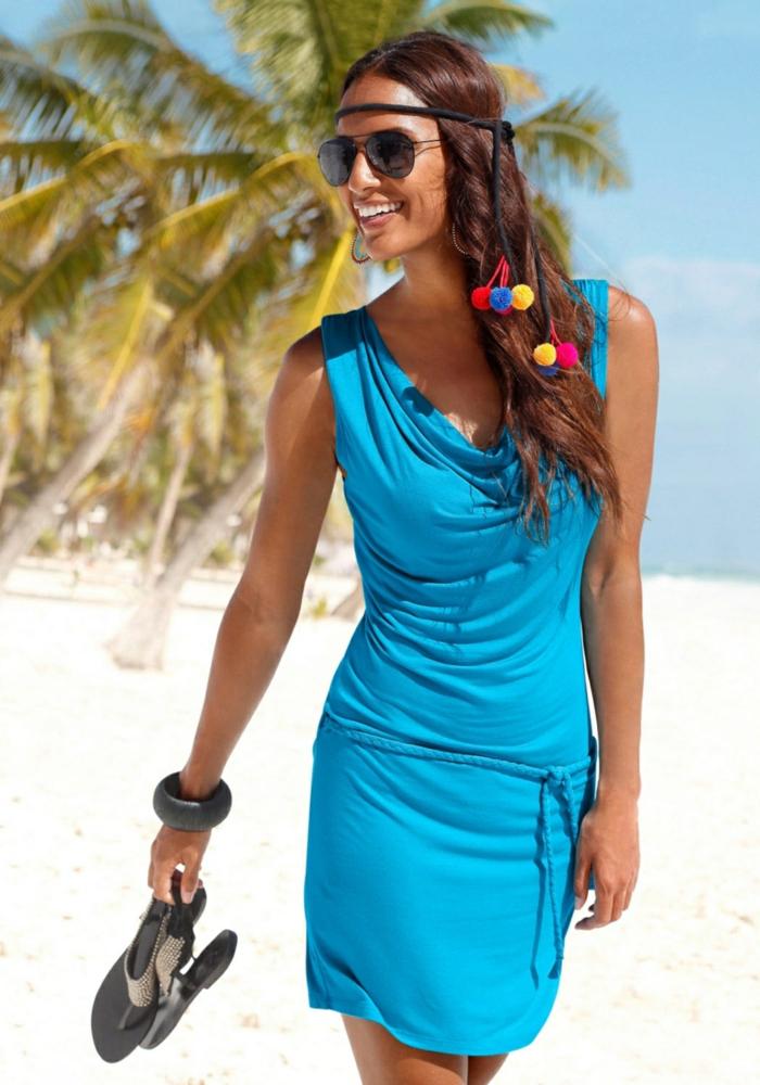strandmode sommerkleid kurz blau lascana kleidungaufdeutsch