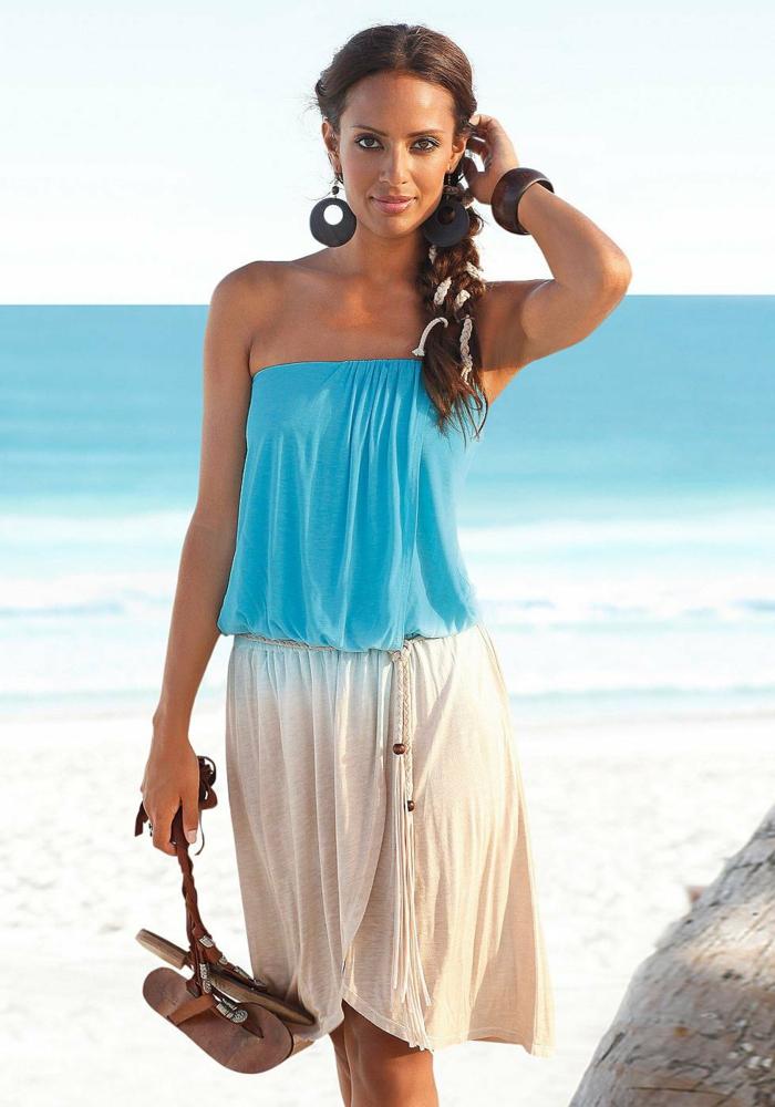 strandmode strandkleider weiß blau ombre lascana kleid 2016