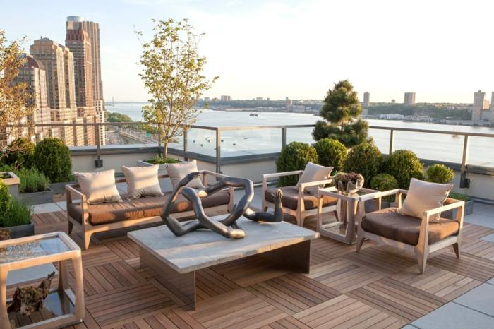 terrasse gestalten terrassenüberdachung feuerstelle gartenmöbel dachterrasse curborasier
