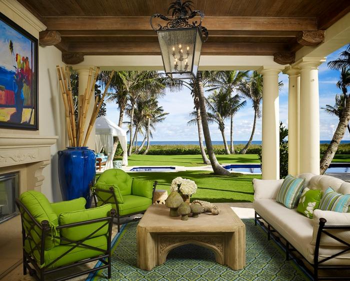 terrassenüberdachung feuerstelle gartenmöbel grün