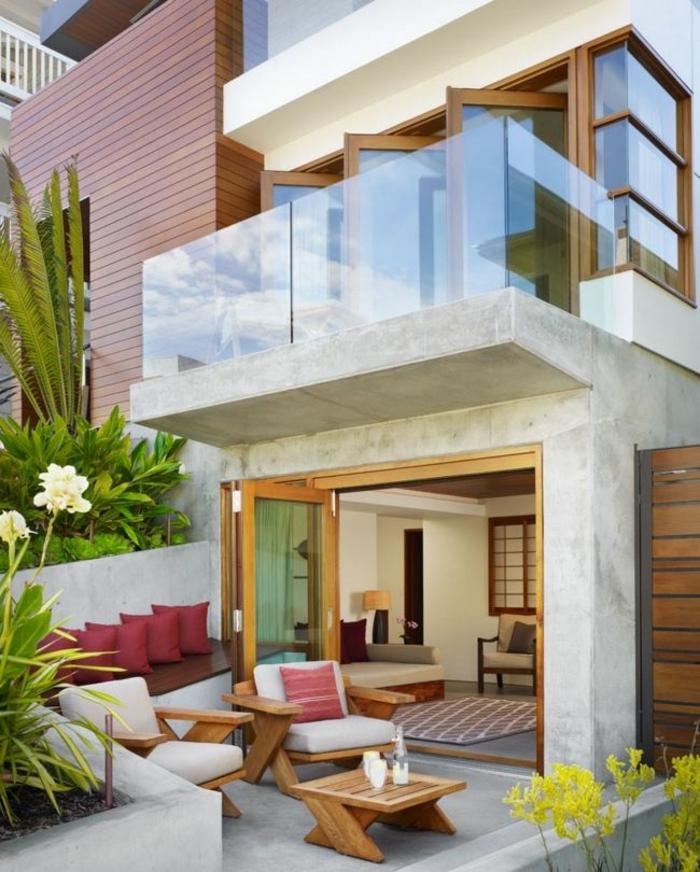 terrassenüberdachung feuerstelle gartenmöbel mini modern