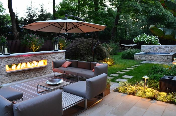 terrassenüberdachung feuerstelle gartenmöbel modern