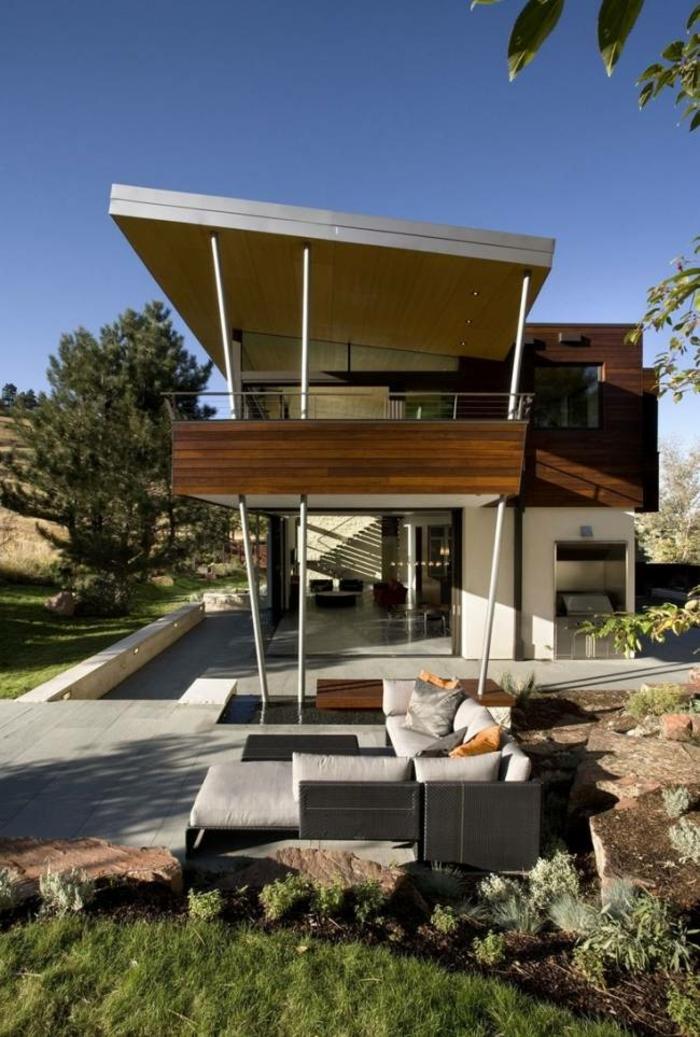 terrassenüberdachung feuerstelle gartenmöbel moderne architektur
