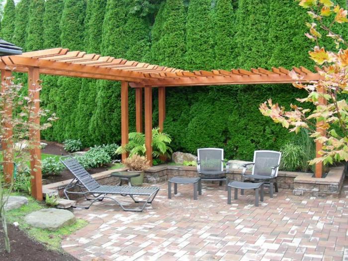 terrassenüberdachung feuerstelle gartenmöbel pergola bauen