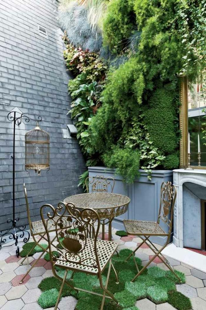 terrassenüberdachung feuerstelle gartenmöbel romantik