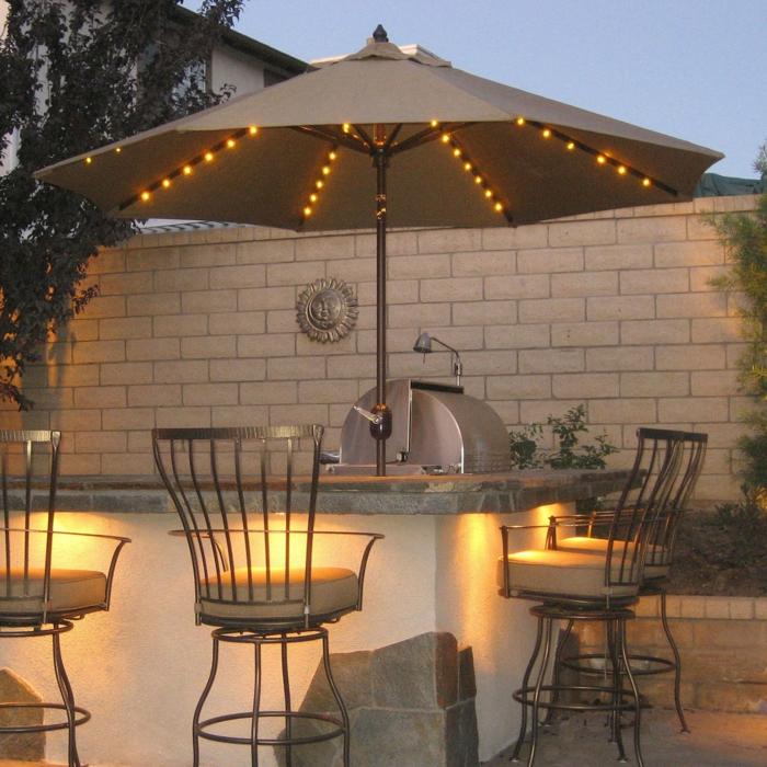 terrassenüberdachung feuerstelle gartenmöbel sonneschutz