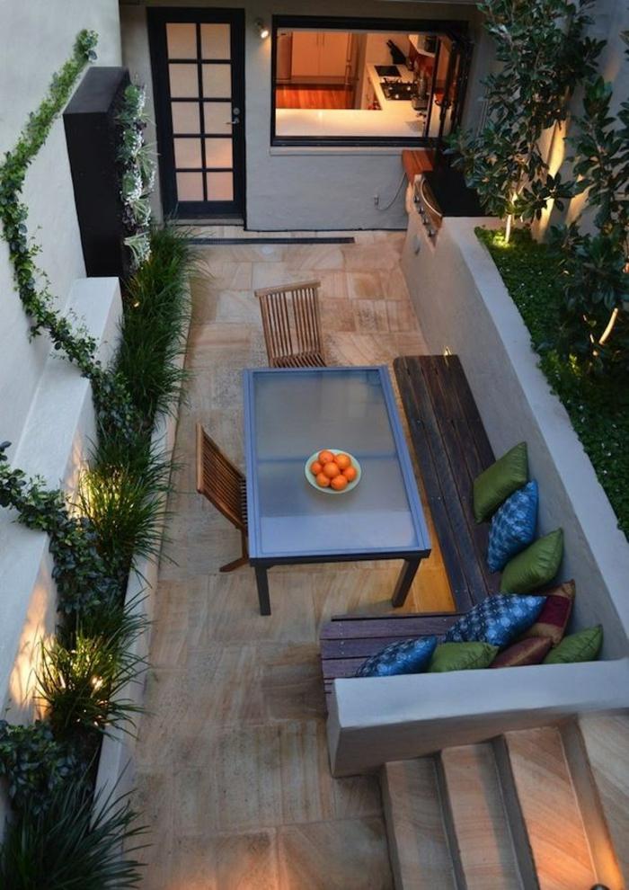 terrassenüberdachung feuerstelle gartenmöbel urban