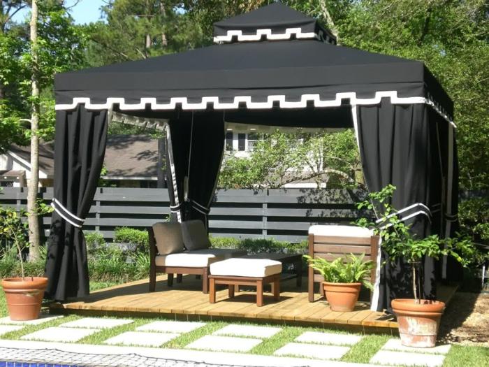 terrassenüberdachung feuerstelle gartenmöbel zelt