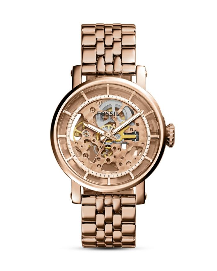 uhr rosegold armbanduhr damenmode fossil automatikuhr boyfriend