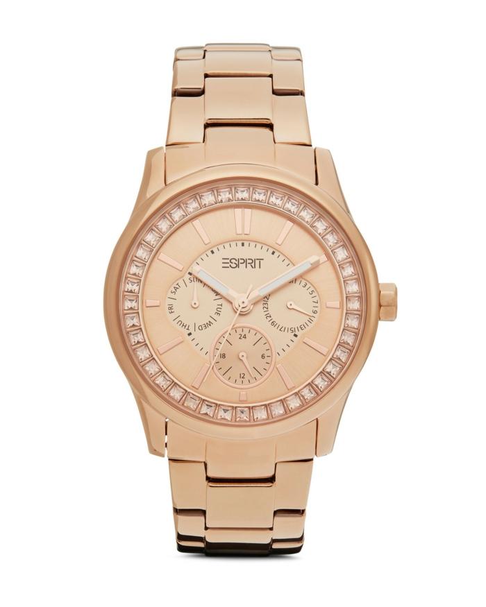 uhr rosegold armbanduhr damenmode strasssteine esprit