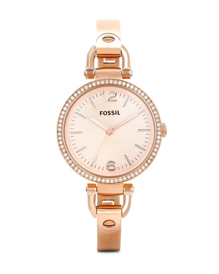 uhr rosegold armbanduhr damenmode trend fossil georgia
