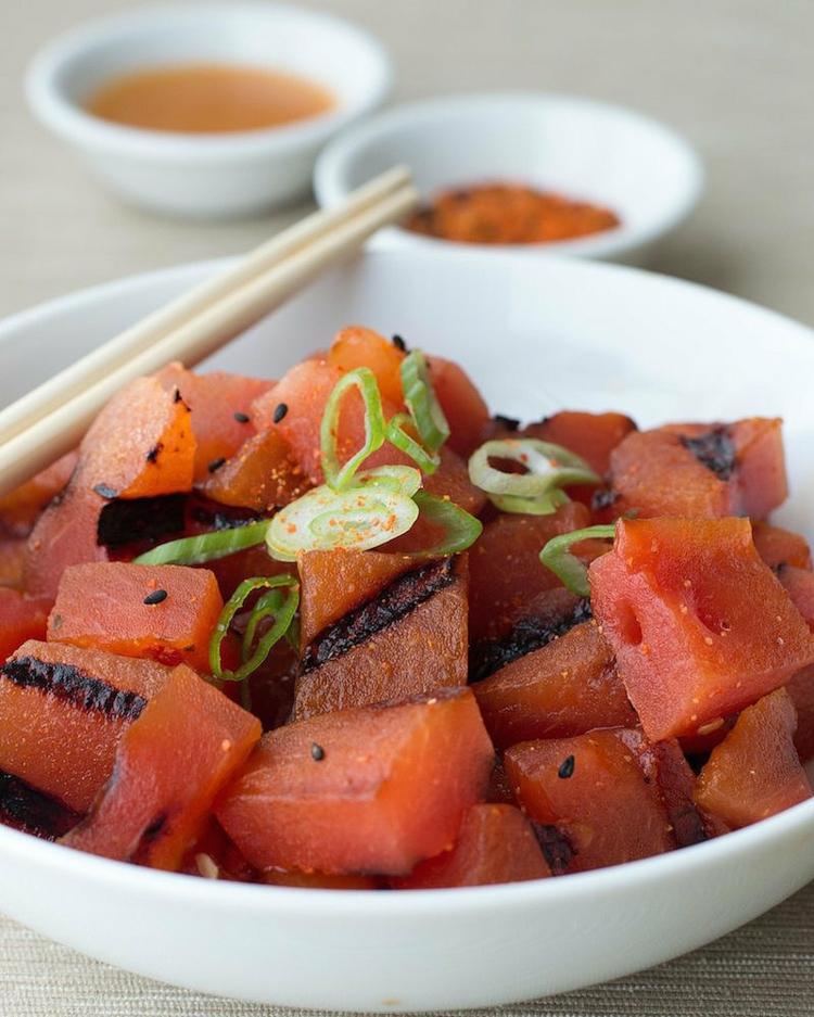 vegetarische Grillrezepte gegrillte Wassermelone Salat