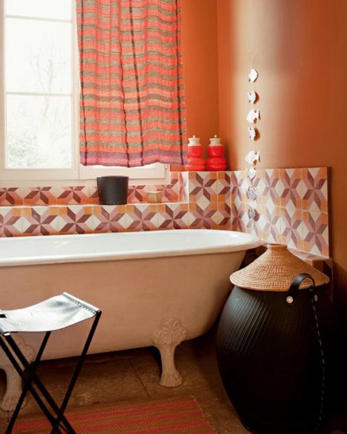 wände streichen ideen badezimmer orange wandfarbe