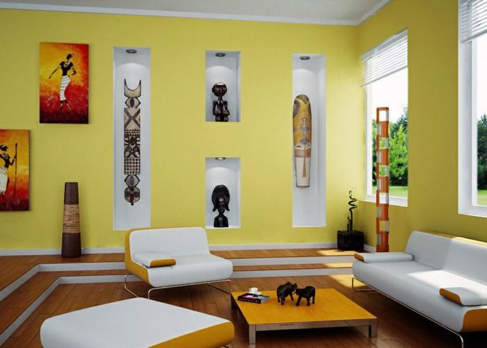 wände streichen ideen gelbe wandfarbe wohnideen wohnzimmer