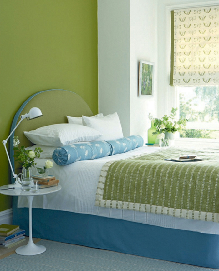 wände streichen ideen grüne wände schlafzimmer blumen