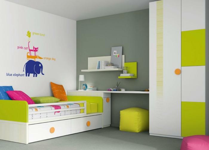 wände streichen ideen hellgrau kinderzimmer einrichten farbige elemente