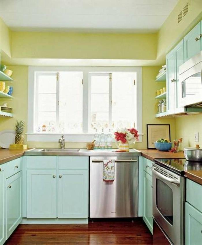 wände streichen ideen küche gelbe wände hellgrüne küchenschränke