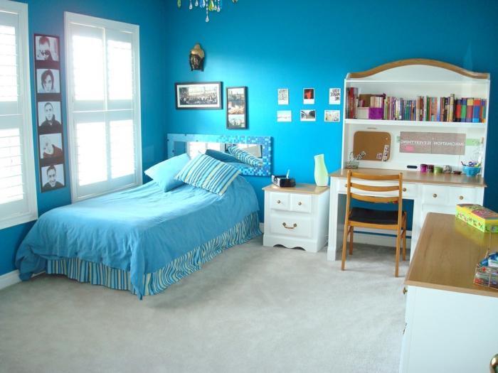 wände streichen ideen kinderzimmer blaue wandfarbe heller bodenbelag
