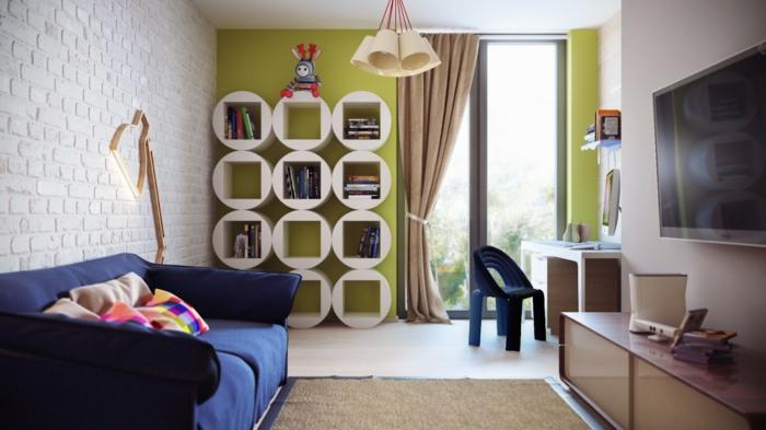 Wande Streichen Ideen Kinderzimmer : wände streichen ideen kinderzimmer grüne akzentwand regalsystem