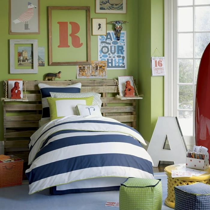 Wände Streichen Ideen Kinderzimmer Jungen Rustikales Bettkopfteil 50  Farbige Wände, Welche Der Zeitgenössischen Wohnung Charakter Vermitteln ...