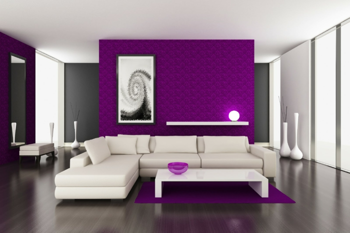 wände streichen ideen lila akzentwände weiße möbel wohnzimmer