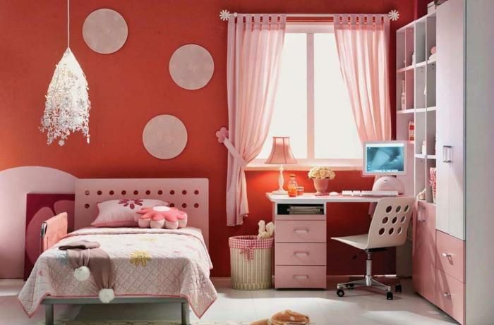 wände streichen ideen mädchenzimmer orange wände pendelleuchte