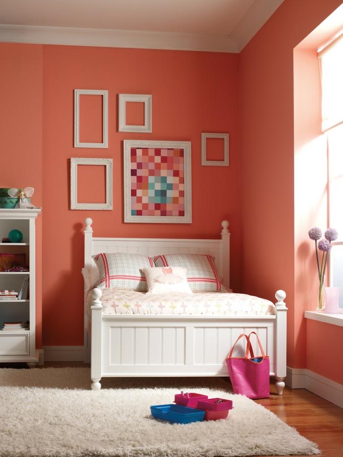 wände streichen ideen orange wandfarbe weißer teppich
