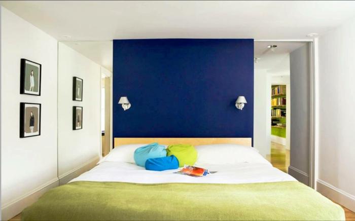 wände streichen ideen schlafzimmer blaue akzentwand