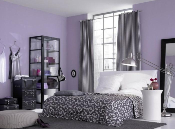wände streichen ideen schlafzimmer helllila grauer teppich