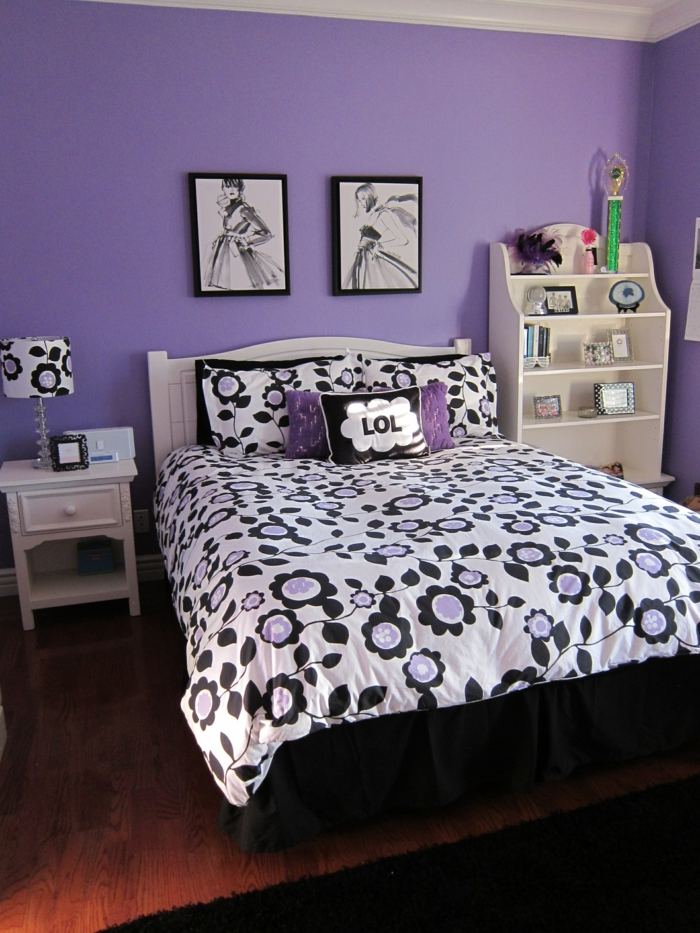 wände streichen ideen schlafzimmer lila wände farbige bettwäsche