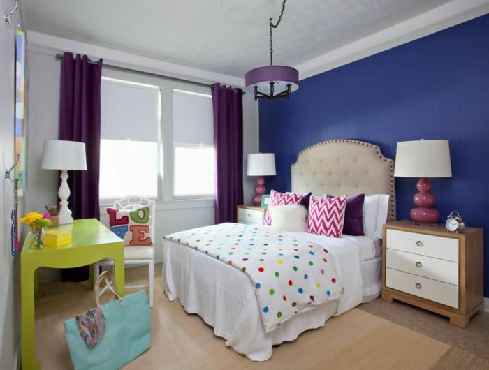 wände streichen ideen wohnideen schlafzimmer blaue akzentwand