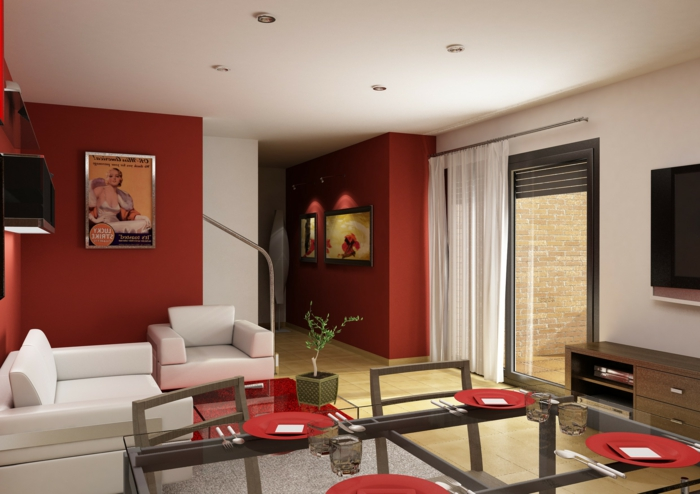 Wohnideen wohnzimmer streichen wohnideen wohnzimmer for Farbige wandfarbe