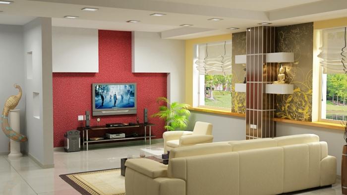 wandgestaltung wohnzimmer rot
